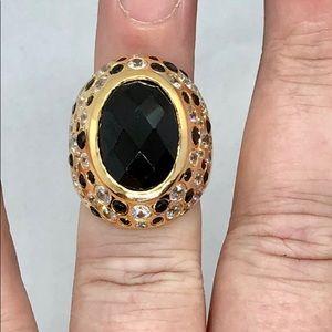 Thai Black Spinel & Zircon Statement Ring